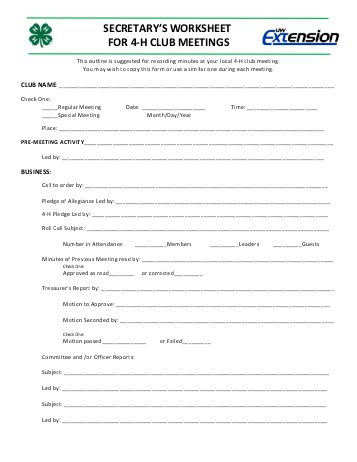 secretarys-worksheet-for-4-h-club-meetings