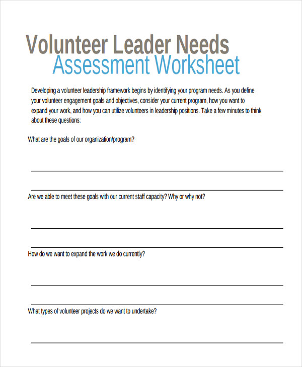 volunteer needs